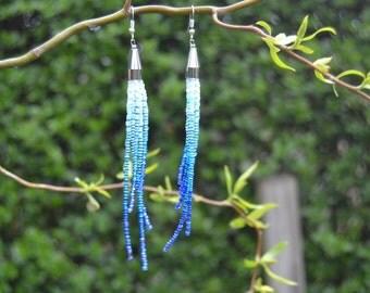 long blue seed bead dangle earrings