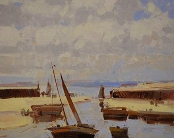 Harbor Seascape Original Handmade oil Painting on Canvas  One of a Kind Impressionism Signed with Certificate of Authenticity