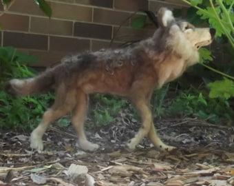 Needle felted Animal, Needle felted wolf, Needle felted Grey wolf