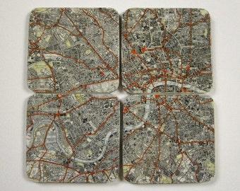 Vintage British Map Drinks Coasters UK