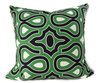Green and Black Pillows, Kelly Green Black and White HGTV Pillow Cover, HGTV Turtle Shell Malachite Pillow Cover, Emerald Green Pillows