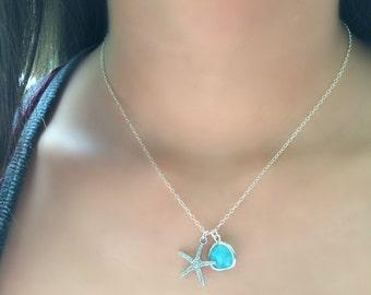 Starfish Choker 925 sterling Silver Mint Gemstone Choker,Mint Necklace,Starfish Jewelry,Mint Jewelry,Starfish,Ocean Blue,Mint,Beach Wedding