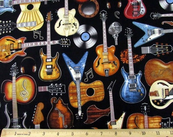 All Amped Up Guitar Black Fabric From RJR By the Yard