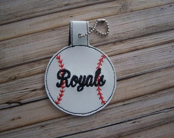 Royals - Baseball - In The Hoop - Snap/Rivet Key Fob - DIGITAL Embroidery Design