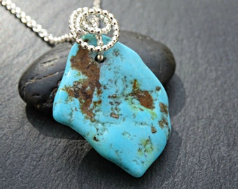 blue turquoise pendant silver, sleeping beauty turquoise necklace, turquoise nugget pendant, womens turquoise necklace December birthstone