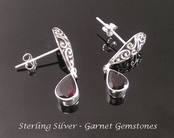 Earrings: Sterling Silver Stud Earrings with Garnet Gemstones | 925 Silver Earrings 037 | Matches Harmony Ball Necklace 737