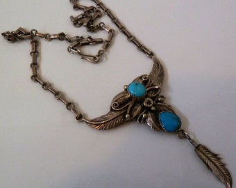 Old Pawn Navajo Sterling Turquoise Squash Blossom Feather Necklace Rare Signed