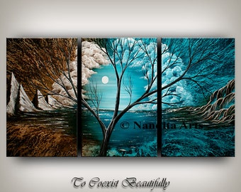 Painting, Landscape Abstract Art, Blue Modern Landscape wall art, Nature Tree art large brown painting canvas art by Nandita Albright