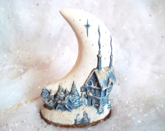 Lovely Nostalgic Winter Scene And Moon Night Light In Blue And White