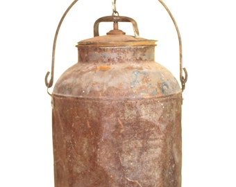 Antique Small Rusted Milk Can Pendant Light Vintage Aged As Found Rusty Surface