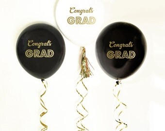 6 Congrats Grad Balloons In Black or White with gold writing
