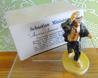 """Sebastian Miniatures, 1949 Emmett Kelly miniature, just 3"""" tall.  It is been hand cast, and hand painted."""
