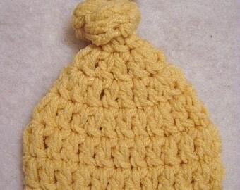Crochet Knot Hat, photo prop knot hat, newborn prop hat, CORN (golden yellow)
