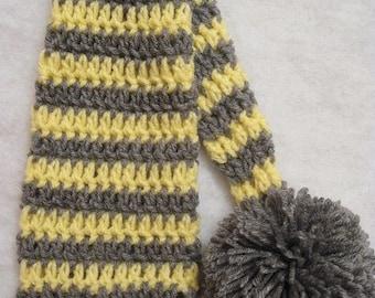 Crochet Elf Hat Newborn Photo Prop, Gray And Yellow, Ready To Ship, newborn elf hat, striped elf hat, elf hat photo prop, crochet elf hat