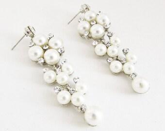 Ivory White Pearl and Silver Crystal Long Bridal Earrings, Cream Pearl Bride Earrings, Pearl Wedding Jewellery, White Pearl Earrings