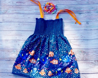 Dory Dress, Smock Dress, Dory Birthday Dress, Beach Cover-up Dress, Sundress
