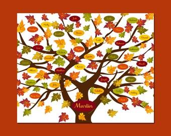 FALL HOME DECOR,  Fall Family Tree Print, Colorful Family Tree, Thanksgiving Hostess Gift, Autumn Family Tree Print, Anniversary Gift