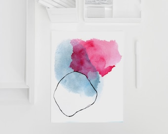 Minimal Watercolor Abstract Print in Pink and Blue