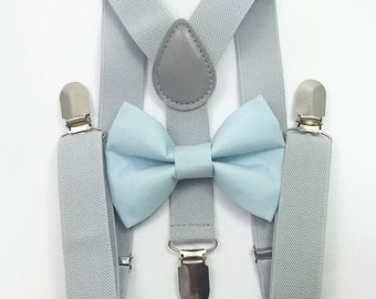 FREE DOMESTIC SHIPPING! Light gray suspenders  + Light Blue Bow tie toddler kids boy boys Adult holidays photos family photoshoot