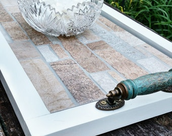 """Ottoman Serving Tray-Light Brown Tan Stone Tile-Turquoise Wooden Handles-White Finish-Handmade-Rustic Contemporary-27""""x15""""-Beach-Cabin"""