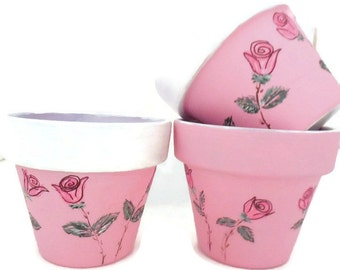 Hand Painted Clay Pots, Painted Pink Rose Clay Pots, Pink Shower Pots, Pink Rose Baby Shower Pots, Pink Party Favor Pots - PINK LOVE