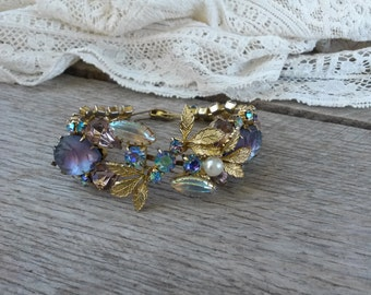 Exquisite Lilac & Lavender Rhinestone Bracelet - Wedding Bracelet- Bridal Jewelry