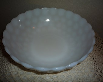 Milk Glass Bubble Bowl