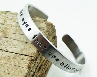Personalized Cuff Bracelet (8mm wide) - Aluminum Hand Stamped Bracelet - Up to 30 Characters in one line - Both sides engreved