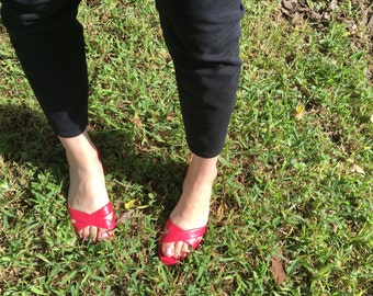 D'Orsay Talbots Sandals Bright Red 6.5