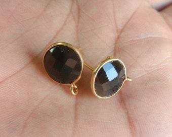 Black Onyx Stud Earrings - Onyx Post Earrings- Round Stud