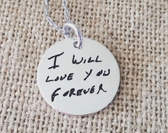 Handwriting Necklace with loved ones ACTUAL Handwriting-Personalized Handstamped Handwriting Necklace-Custom Handwriting-Sterling Silver