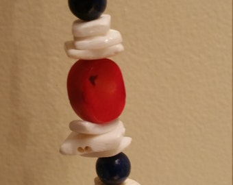 Red, white, and Blue beaded Necklace