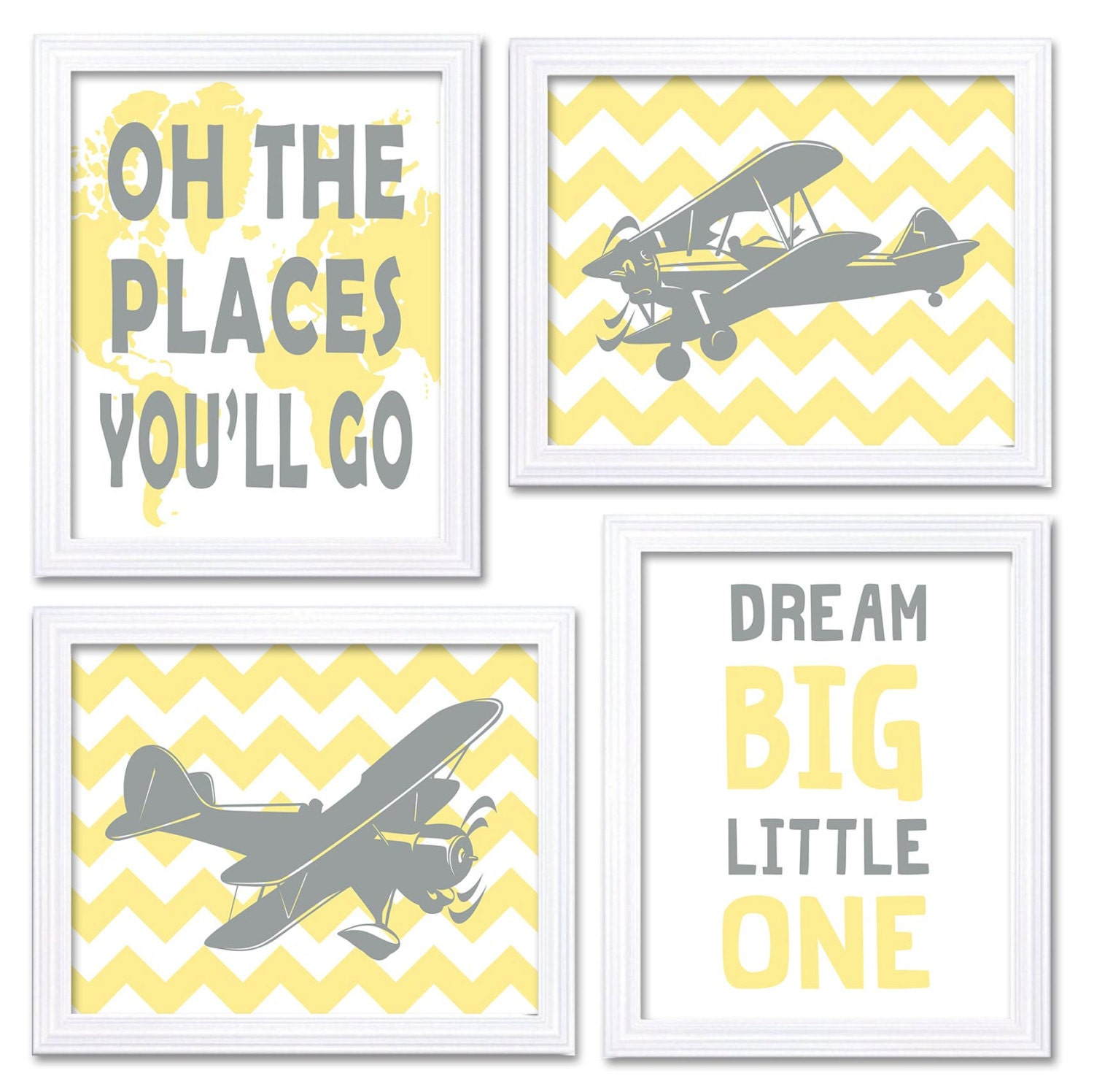 Airplane Nursery Art Yellow Grey Print Set of 4 Transportation Dream Big Little One Oh The Places Yo