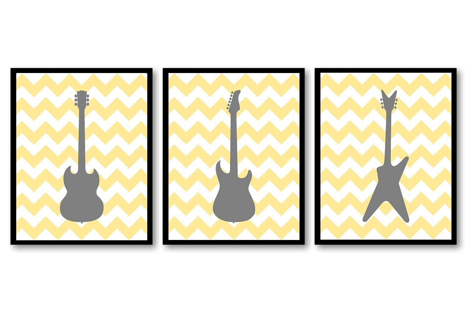 Electric Guitar Nursery Art Nursery Prints Set of 3 Prints Grey Gray ...