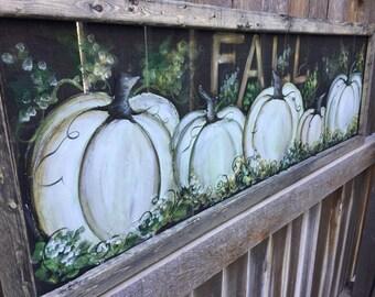 White pumpkins , fall decor ,outdoor fall art,Fall