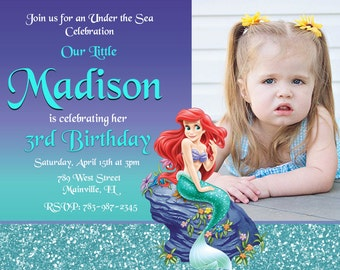 Little Mermaid, Princess Ariel, Birthday Party Invitation- Printable or Printed with FREE SHIPPING