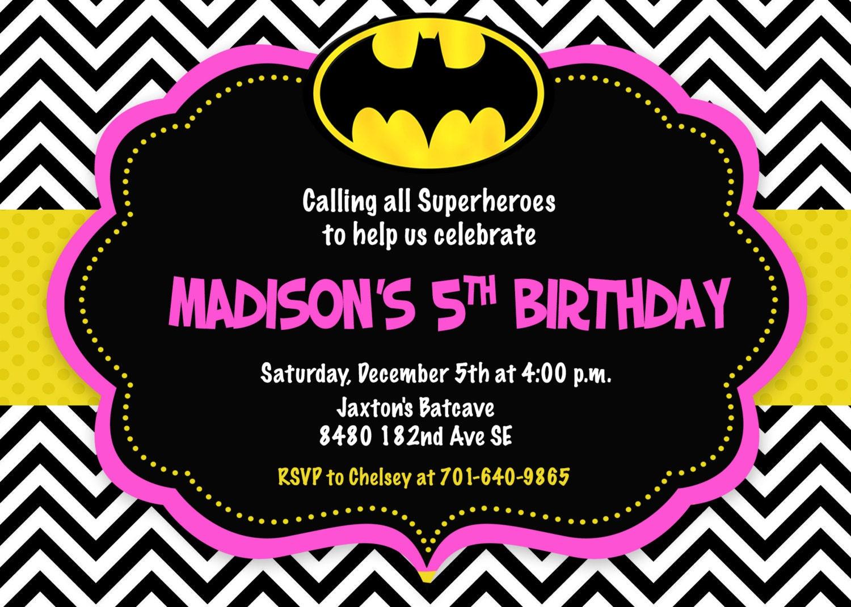 Batman Photo Birthday Invitations with great invitations example