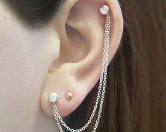 Silver Ear Cuff, Chain Earrings, Double Stud Earrings, Cartilage Earring, 925 Silver Earrings, Boho Earrings, Silver Jewelry, Gemstone Studs