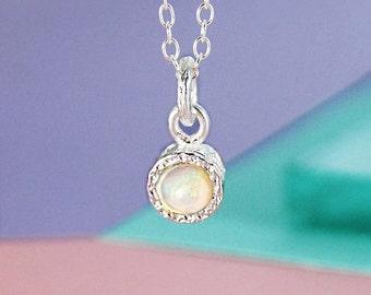 Silver Opal Necklace, Gemstone Necklace, October Birthstone Necklace, 925 Silver Necklace, Simple Necklace, Opal Pendant, Designer Necklace