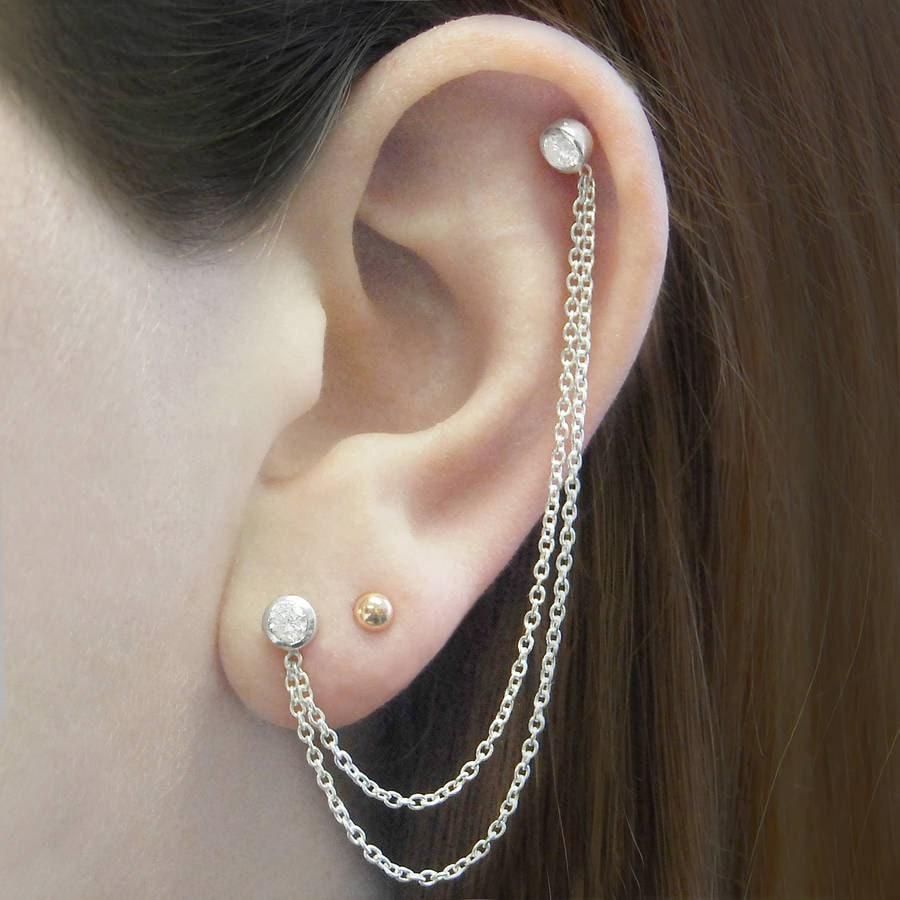 Silver Ear Cuff Chain Earrings Double Stud Earrings