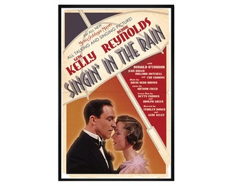 Singin in the Rain Retro, Vintage Style Alternative Movie Poster Print // 1930s Movie Musical Inspired // Gene Kelly Debbie Reynolds