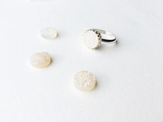 Irridescent White Druzy Ring // Sterling Silver or 14k Gold Filled