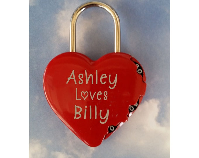 HEART SHAPED LOCK -  Combination Type Lock, Personalized,  Engraved
