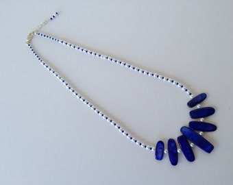 White Pearl and Cobalt Blue Shell Necklace