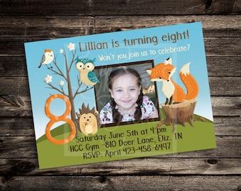 Woodland Forest Friends Birthday Party Invitation, Custom 5x7 or 4x6 DIY, Fox, Hedgehog, Bear, Owl