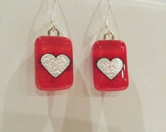 Fused Glass Red Silver Heart Earrings