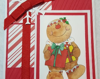 Sweet Gingerbread Girl Handmade Christmas Card