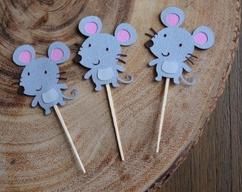 12 mouse/mice cupcake toppers, Woodland Theme Party