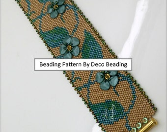 "Peyote Beading PATTERN. DIGITAL DOWNLOAD. Odd Count Peyote Pattern. Leaves Floral Bracelet Pattern. ""Embellished Ivy"". DecoBeading ."