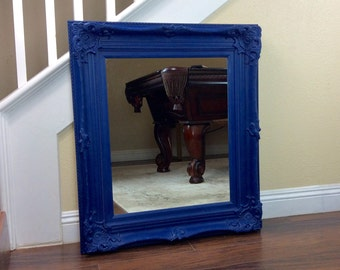 "Mirror, Wall Mirror, Blue Mirror, 29"" by 33"", Vanity Mirror, Different Sizes And Colors, Bathroom Mirror, Wooden Frame"